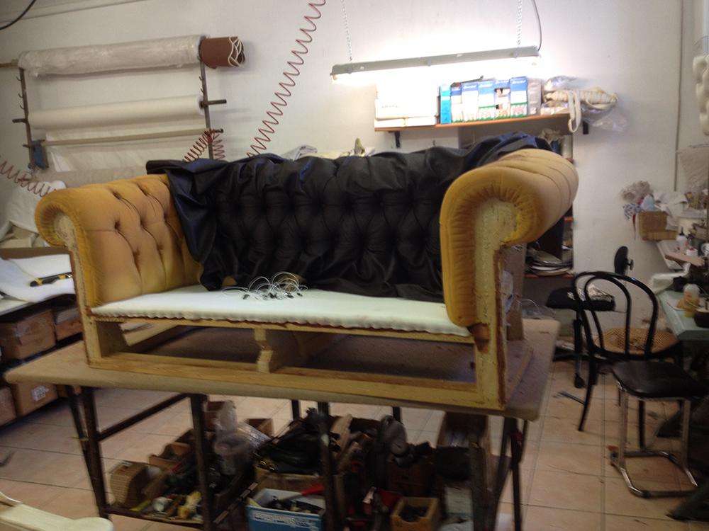prima e dopo divano - Tappezzeria Corazzi